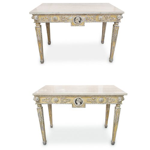 Pair Of Louis XVI Carved Painted Tables