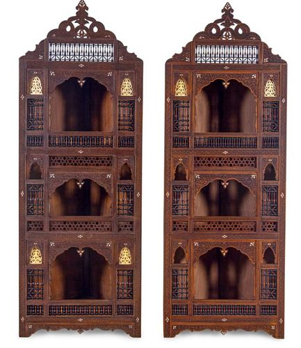 A Pair of Syrian Mother-of-Pearl Inlaid Corner Cabinets