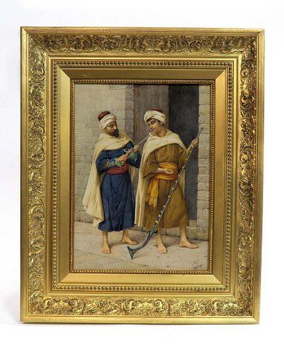 Filippo Indoni Watercolor Orientalist Painting. 19th C.