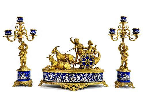 Alphonse Giroux Bronze & Enamel Figural Clock Set