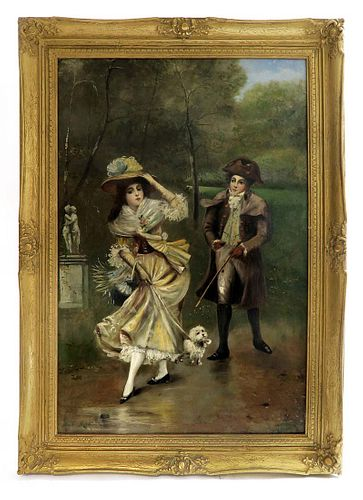 19th C. French Oil on Board Painting by Maurin