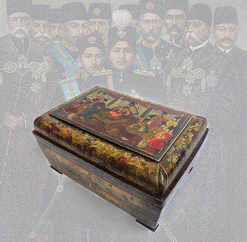 Large 19th C. Persian Qajar Wooden Box. Museum Quality