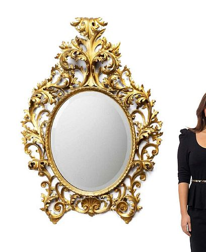 A Large 19th C. Giltwood Wall Mirror