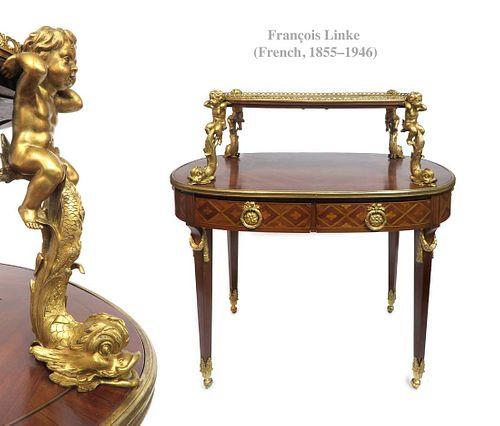 Francois Linke MOUNTED FIGURAL BRONZE TEA TABLE, 19th C