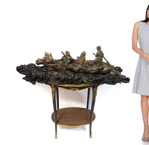 19th C. Monumental Chinese Carved Group of Figures/Boat