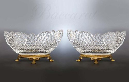 19th C. French Bronze & Baccarat Crystal Bowls