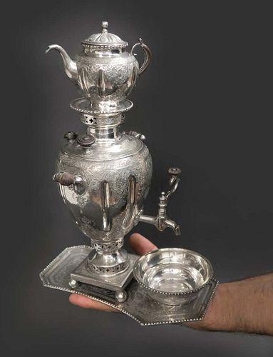 A Persian Silver 84 Samovar, PARVARESH Signed
