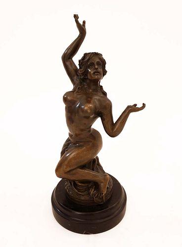 The Slave, Art Deco Original Bronze Statue, Milo Signed