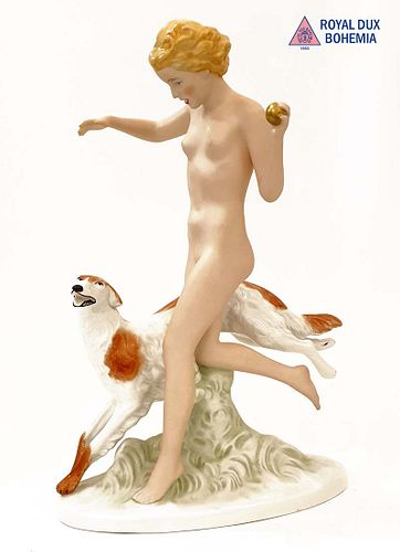 DIANA THE HUNTRESS, A Large Royal Dux Bohemian Figurine