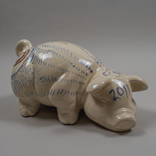 Cisco Jiménez. Puerco. Alcancía de cerámica pintada a mano / Handpainted ceramic piggy bank