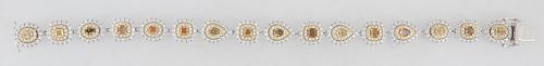 14K White Gold Link Bracelet, each of the sixteen links with an oval, cushion, or pear shaped yellow diamond atop a conforming border of small round d