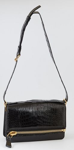Tom Ford Black Alligator Fiesta Bag Shoulder Bag, with adjustable shoulder strap and gold hardware, the interior of the bag lined in black leather wit