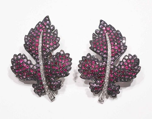 Pair of Carnet Ruby, Sapphire & Diamond Ear Clips