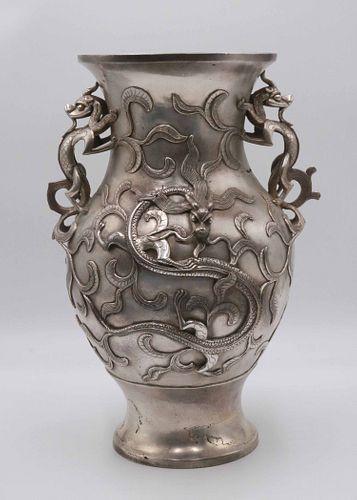 Large Chinese Silvered Bronze Double Handled Vase