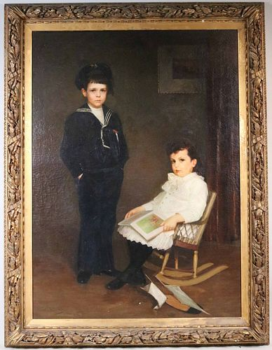 Oil on Canvas, W.W. Churchill, Portrait of Boys