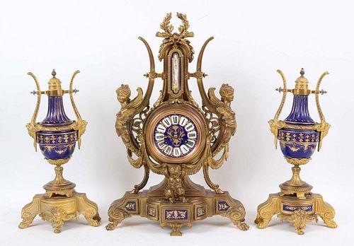 Phillipe H. Mourey Porcelain and Ormolu Garniture