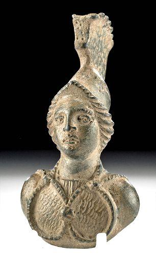 Roman Bronze Applique Helmeted Athena ex-Royal Athena