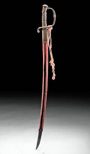 19th C. French Iron, Wood & Brass Sword w/ Scabbard