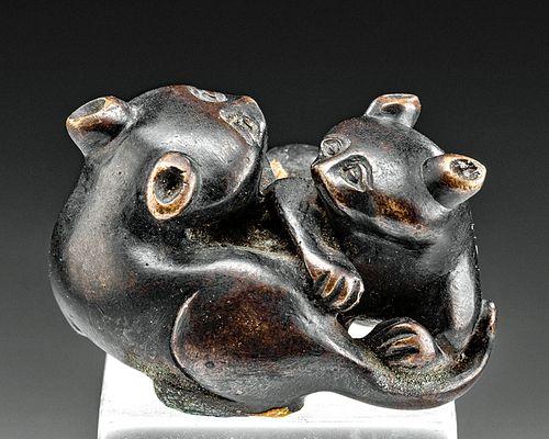 Japanese Meiji Brass Netsuke - 2 Felines Intertwined