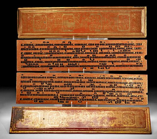 19th C. Burmese Gilded Wood Kammavaca Panels (4)