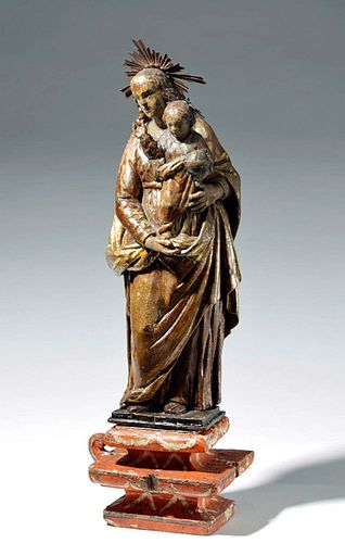 19th C. Mexican Wood Santo - Mary and Child