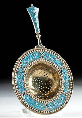 19th C. Russian Gilt Silver Tea Strainer w/ Cloisonne