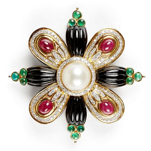18K Gold Diamond Ruby Emerald Onyx Brooch