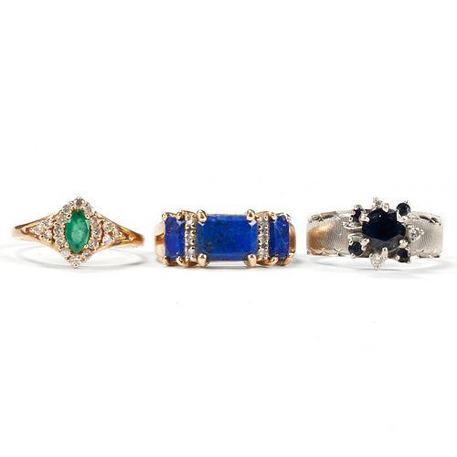 Grp: 3 Colored Gemstone & Diamond Rings