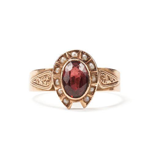 14K Rose Gold Garnet & Seed Pearl Ring
