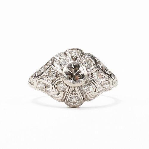 Mid-Century Platinum Diamond Ring