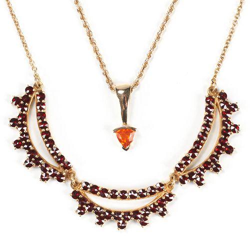 Grp: 2 Necklaces - Gold Orange Sapphire Garnet
