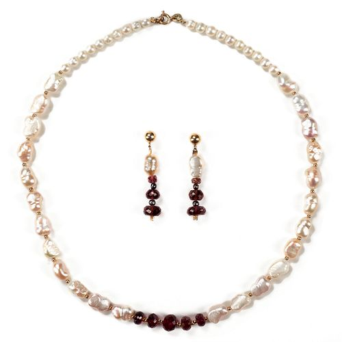 14K Gold Garnet Baroque Pearl Earrings & Necklace