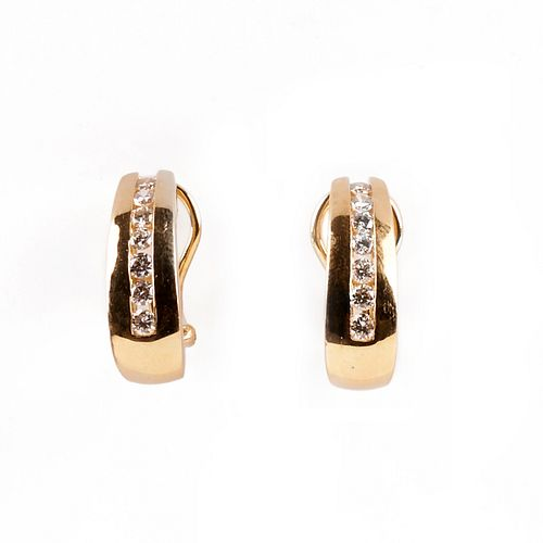 Pair of Cardow 14K Diamond Earrings