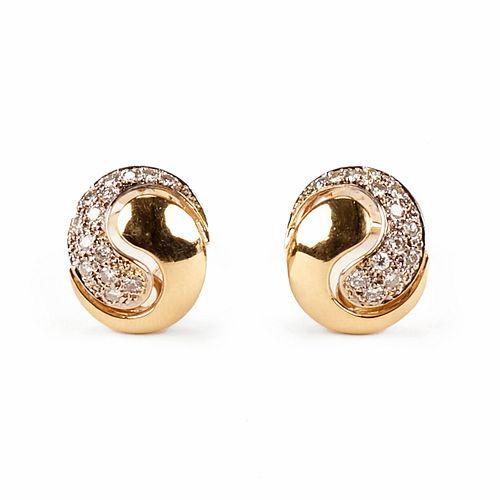 Pair of 14K Gold Diamond Yin Yang Earrings