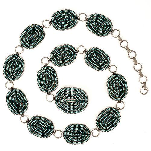 Zuni Petit Point Silver Turquoise Concha Belt