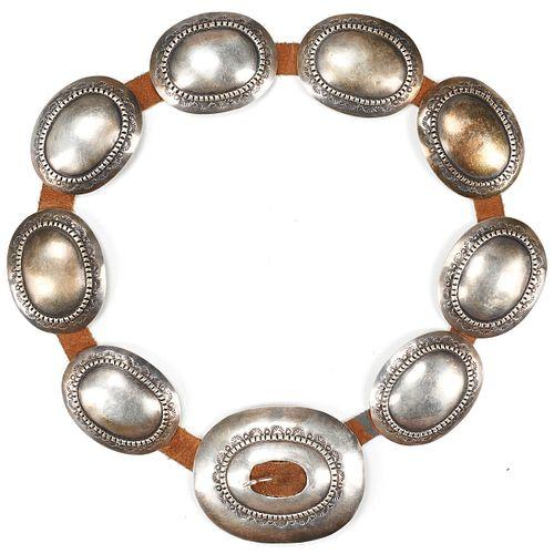 Navajo Sterling Silver Concha Belt