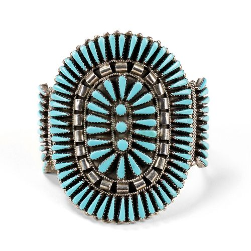 Native American Silver Turquoise Petit Point Cuff
