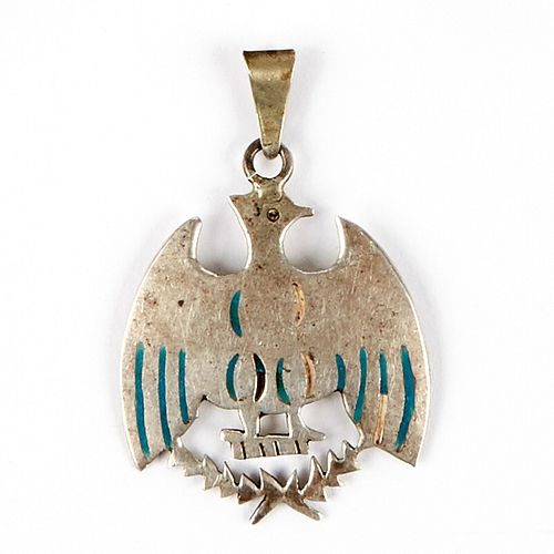 Navajo Zuni Enameled Silver Eagle Pendant Charm