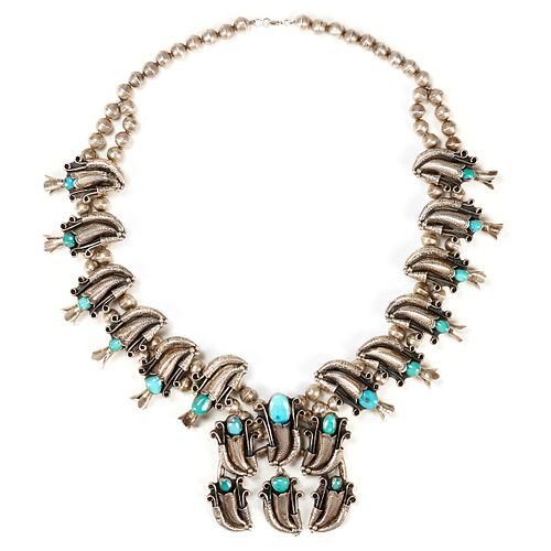 Bisbee Turquoise Sterling Squash Blossom Necklace