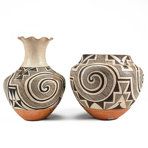Grp: 2 Attrib. Juana Leno Pottery Vases
