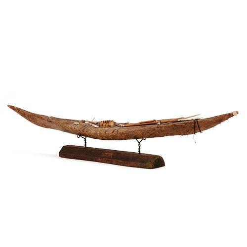 Inuit or Yup'ik Seal Skin Kayak w/ Stand