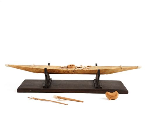 Inuit or Yup'ik Kayak w/ Tools & Seal