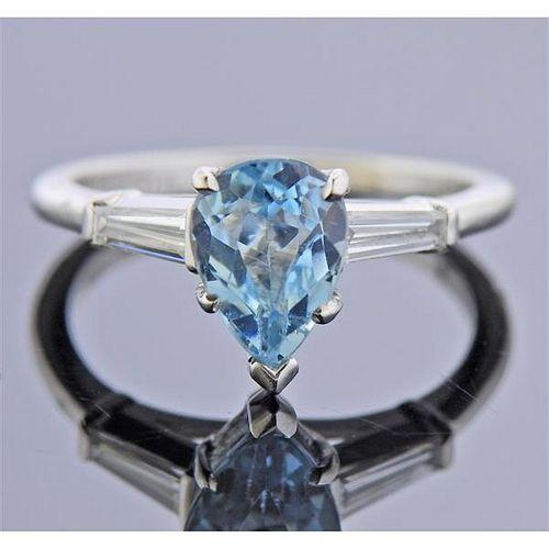 Platinum Diamond 1.30ct Aquamarine Engagement Ring