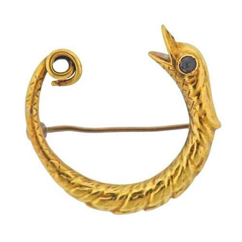 Antique 18K Gold Garnet Snake Brooch Pin