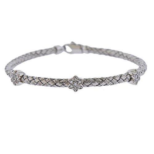 14K Gold Diamond Basket Braided Weave Bracelet