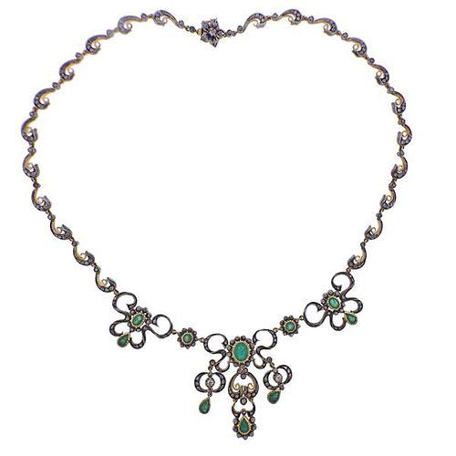 Continental 18k Gold Silver Emerald Diamond Necklace
