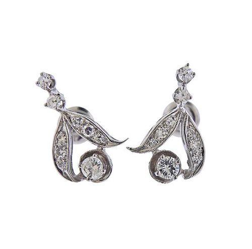 Mid Century 14K Gold Diamond Earrings