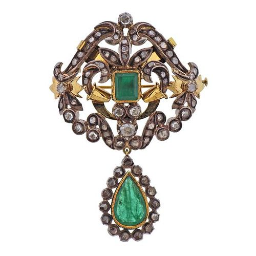 Continental 18k Gold Silver Emerald Diamond Pendant Brooch
