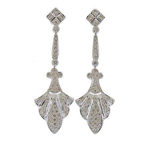 18k Gold Diamond Long Drop Earrings