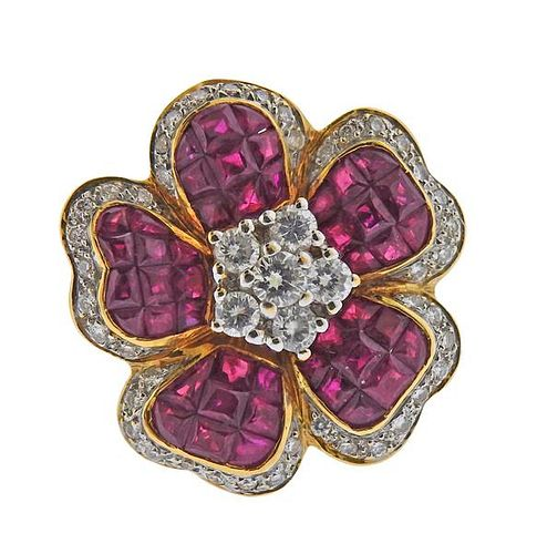 18K Gold Diamond Ruby Flower Ring